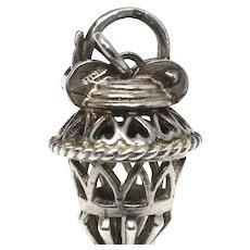 Vintage 1969 Sterling Silver Hallmarked Fancy Padlock Charm or Bracelet Fastener