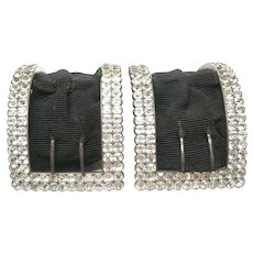 Antique Georgian Sterling Silver Shoe Buckles With Black Dot Paste Stones