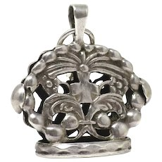 Repoussé Silver Forget-Me-Not Flowers Religious Cross Pocket Watch Seal Fob Pendant