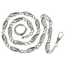 Unique Antique Victorian Niello 800 Silver Rose Gold Vermeil Gilt Watch Chain Necklace