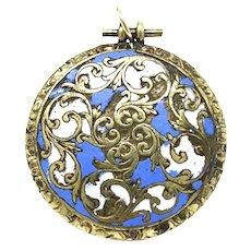 Georgian Gold Cased Enamel Mourning Locket with Hair Pendant