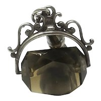 Large Vintage 1970's Solid Sterling Silver & Smoky Quartz Spinner Fob Charm Pendant