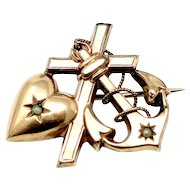 Antique Victorian Sweetheart Rose Gold Rolled Gold Heart Cross Anchor Pin Brooch