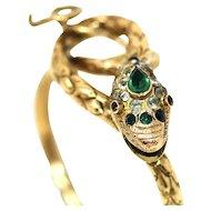 Antique Victorian Gilt Metal Snake Serpent & Old Paste Bangle