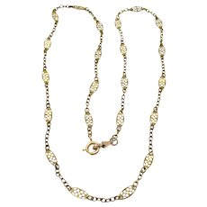 Antique French Yellow Gold Filled Long Fancy Filigree Chain Necklace
