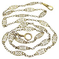 Antique French Sautoir Yellow Gold Filled Long Fancy Large Filigree Chain Necklace