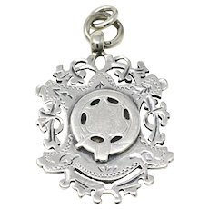 1898 Antique Victorian Birmingham Solid Sterling Silver Medal Pocket Watch Fob Pendant