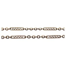 Antique French Warm Rose Gold Filled Sautoir Long Muff Guard Chain Fancy Necklace