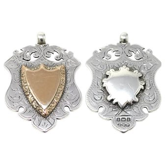 1907 Heavy Antique Birmingham Medallion Shield Sterling Silver & Rose Gold Gilt Watch Fob Medal Double Sided Pendant