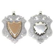 Antique Edwardian Birmingham Sterling Silver & Rose Gold Gilt Shield Fob Medal Pendant