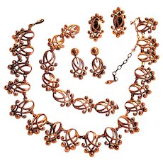 "Renoir ""Melody"" Linked Copper Necklace, Bracelet and Two Sets Clip-on Earrings Parure"