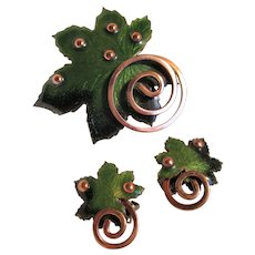 "Matisse Green Enamel ""Leaf"" Pin Brooch and Earrings"