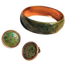 Matisse Renoir Green Speckled Enameled Bangle Bracelet and Matching Earrings