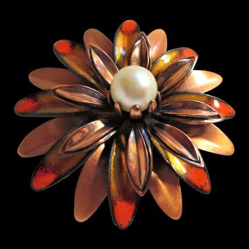 "Matisse Renoir ""Anemone"" Flower Brooch Copper with Orange Enamel Accents"