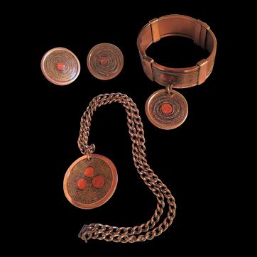 "Matisse Renoir ""Gracelet"" Orange Copper Enamel  Bracelet, Earrings, Medallion Necklace"
