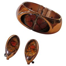 Matisse Renoir Orange Orb Enamel Bracelet and Clip-on Earrings