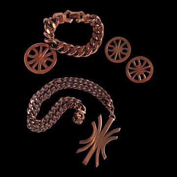 """Graceful Renoir """"Dance"""" Parure Necklace, Bracelet & Clip-on Earrings Signed Set"""