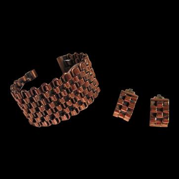 "Renoir ""Basketweave"" Cuff Bracelet & Matching Clip-on Earrings Signed Set"