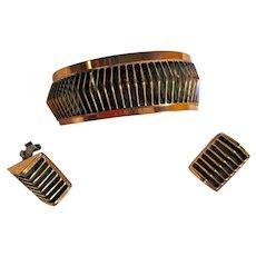 "Renoir ""Shadows"" Copper Cuff Bracelet & Matching Clip-on Earrings Set"