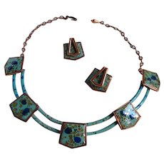 Scarce Matisse Turquoise and Dark Blue Enamel Trapezoid Linked Necklace and Matching Earrings