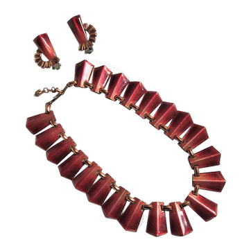1950s Matisse Red Ombre Enamel on Copper Choker Necklace and Clip-on Earrings