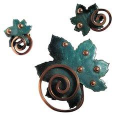 """Matisse Book Piece Design Teal Blue Enamel """"Leaf"""" Pin Brooch and Earrings"""