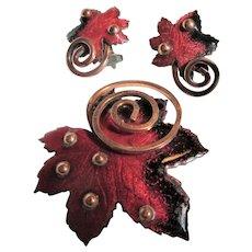 "Matisse Book Piece Design Red Enamel ""Leaf"" Pin Brooch and Earrings"