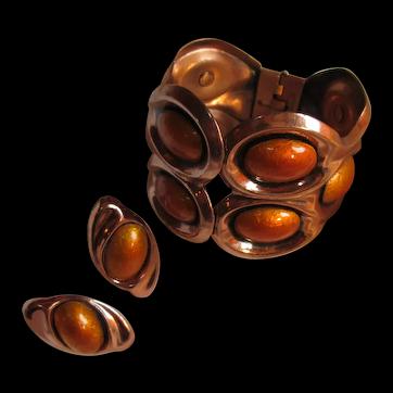Mid-Century Matisse Renoir Copper Enamel Ten Cabochon Clapper Bracelet