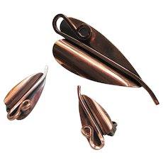 """Renoir Copper """"Lily"""" Leaf Brooch & Clip-on Earrings"""