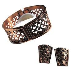 Signed Renoir Mid-Century Filigree Copper Hinged Bracelet & Clip-on Earring Set