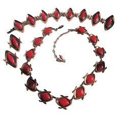 Matisse Renoir Lipstick Red Copper Enamel Necklace, Linked Bracelet and Earrings