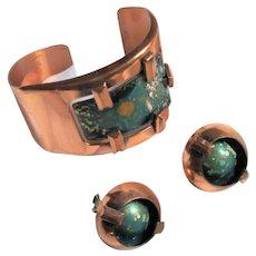 Mid-Century Matisse Blue-Green Enamel Copper Bracelet with Atomic Age Clip-on Earrings