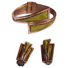 "Matisse Renoir ""Nile"" Citron Green Enamel Hinged Bracelet & Clip-on Earrings"