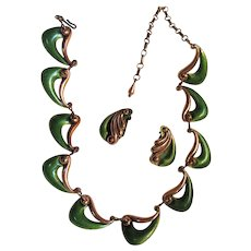 1950s Atomic Era Matisse Green Enamel Copper Necklace and Earrings
