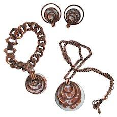 """Matisse """"Saturn"""" White & Golden Enamel Necklace, Bracelet & Clip Earrings"""