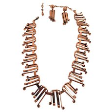 Intriguing Renoir Copper Graduated Linked Necklace and Matching Lever-back Earrings