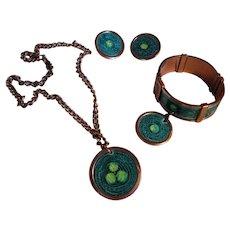 """Matisse Renoir """"Gracelet"""" Turquoise and Green Enamel Bracelet, Earrings, Medallion Necklace"""