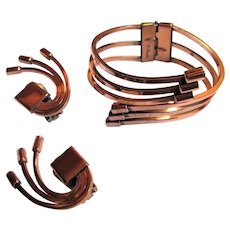 "Elegant Renoir ""Willow"" Copper Clapper Bracelet and Earrings"