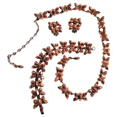 "Elegant Renoir ""Firefly"" Parure Necklace, Bracelet & Clip-on Earrings Signed Set"
