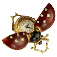 18karat Gold and Guilloche Enamel Lady Bug Brooch Watch circa 1900s