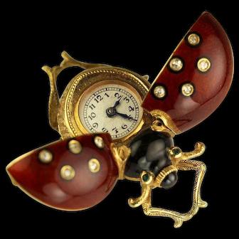 18karat Gold and Guilloche Enamel Lady Bug Brooch Watch circa 1900s
