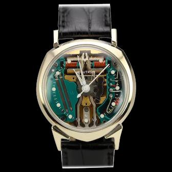 Bulova 14k White Gold Accutron Quartz Movement Spaceview Wristwatch