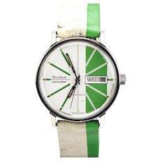 Bulova Stainless Steel Spinnaker Day Date Wristwatch