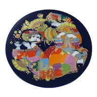 Signed Bjorn Wiinblad Studio Line Rosenthal Decorative Plate - Orientalische Nachtmusik Mandolinenspieler Motiv 1