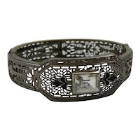 1930s Art Deco Period Rhodium Plated Filigree Metal Enamel Crystal Bangle Clamper Bracelet