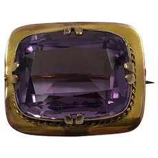 Antique Victorian Era 9K Yellow Gold 26 Carat Purple Amethyst Brooch