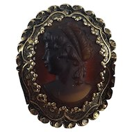 Beautiful Vintage Root Beer Brown Glass High Relief Classical Lady Cameo Brooch Patinated Gold Tone Metal Frame