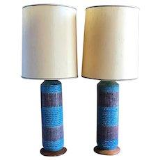Pair of Vintage Mid Century Modern Italian Pottery Bitossi Purple and Rimini Blue Large Table Lamps