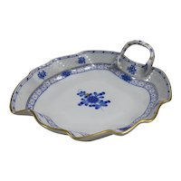 Herend Chinese Bouquet Blue Leaf Dish Apponyi Flowers