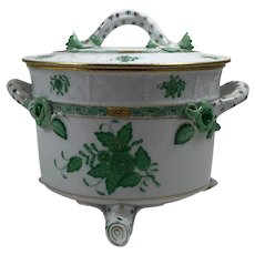 Vintage Herend Hungary Porcelain Chinese Green Lidded Tureen Casserole Serving Dish